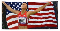 Beach Towel featuring the digital art Allison Felix Olympian Gold Metalist by Vannetta Ferguson