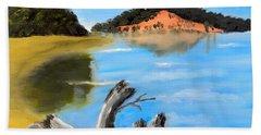 Beach Towel featuring the painting Allonah Beach Tasmania by Pamela  Meredith