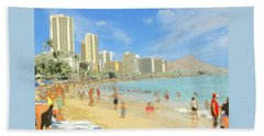 Aloha From Hawaii - Waikiki Beach Honolulu Beach Towel by Art America Gallery Peter Potter