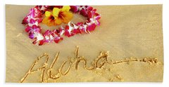 Aloha Lei Beach Towel by Kristine Merc