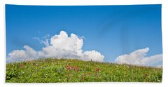 Alpine Meadow And Cloud Formation Beach Sheet