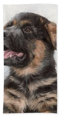 Alsatian Puppy Painting Beach Towel