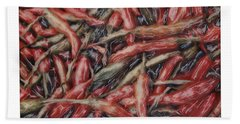 Altered Polaroid - Chile Peppers Beach Towel by Wally Hampton