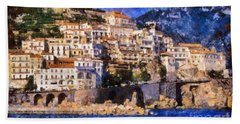 Amalfi Town In Italy Beach Sheet