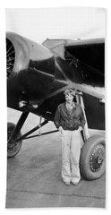 Amelia Earhart And Her Plane Beach Towel