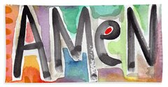 Amen- Colorful Word Art Painting Beach Towel
