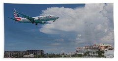 American Airlines Landing At St. Maarten Beach Towel