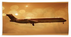 Airplanes Beach Towel featuring the photograph American Airlines Md80  by Aaron Berg