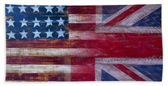 American British Flag 2 Beach Sheet