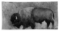 Monochrome American Buffalo 3  Beach Sheet by Hailey E Herrera
