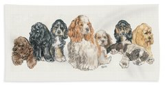 American Cocker Spaniel Puppies Beach Towel