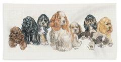 American Cocker Spaniel Puppies Beach Sheet by Barbara Keith