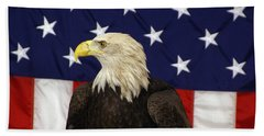 American Eagle And Flag Beach Towel