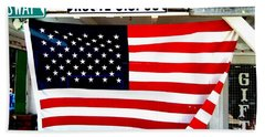 American Flag Route 66 Beach Sheet by Dany Lison