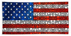 American Flag - Usa Stone Rock'd Art United States Of America Beach Sheet by Sharon Cummings