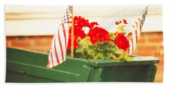 American Flags And Geraniums In A Wheelbarrow In Maine, Two Beach Sheet