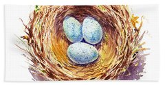 American Robin Nest Beach Sheet by Irina Sztukowski