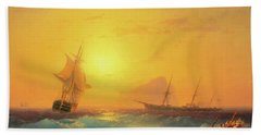 American Shipping Off The Rock Of Gibraltar Beach Towel