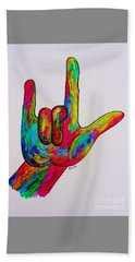 American Sign Language I Love You Beach Sheet by Eloise Schneider