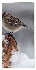 American Tree Sparrow In Snow Beach Towel