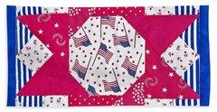 Americana Quilt Block Design Art Prints Beach Sheet