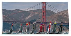 Americas Cup Catamarans At The Golden Gate Beach Towel by Kate Brown
