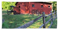 Amish Barn Along A Fenceline Beach Towel by Gordon Elwell