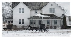 Amish Buggy And Amish House Beach Towel