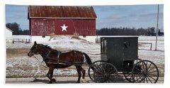 Amish Buggy And The Star Barn Beach Towel