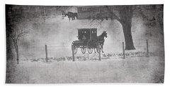 Amish Buggy Winter January 2014 Beach Towel