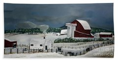 Beach Towel featuring the painting Amish Farm - Winter - Michigan by Jan Dappen