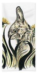 Rabbit- Amongst The Dandelions Beach Towel