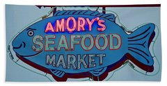 Amory Seafood Sign Beach Towel