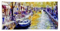Amsterdam Canal Watercolor Beach Towel
