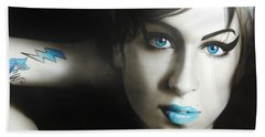 Amy Winehouse - ' Amy 'n' Blues ' Beach Towel by Christian Chapman Art