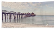 An Early Morning - Naples Pier Beach Towel by Kim Hojnacki