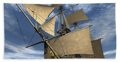 An Old Sailing Ship Navigating Beach Towel