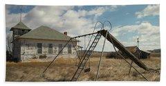 An Old School Near Miles City Montana Beach Sheet by Jeff Swan