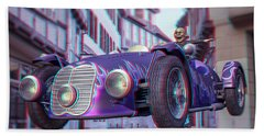 Anaglyph Old Car  Beach Towel