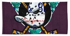Anaheim Ducks Hockey Team Retro Logo Vintage Recycled California License Plate Art Beach Towel by Design Turnpike