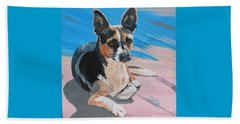 Beach Towel featuring the painting Ancho A Portrait Of A Cute Little Dog by Phyllis Kaltenbach
