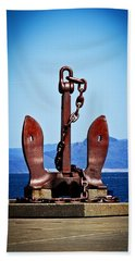 Ocean Beach Towel featuring the photograph Ship's Anchor  by Aaron Berg