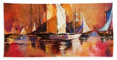 Anchored At Sunset Beach Towel