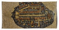 Ancient Jerusalem Mosaic Map Color Framed Beach Towel