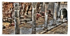 Beach Sheet featuring the photograph Ancient Roman Columns In Israel by Doc Braham