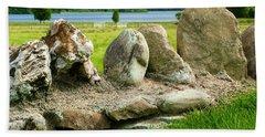 Ancient Stone Wall At Loch Achray Beach Towel
