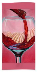 Beach Towel featuring the painting ...and Let There Be Wine by Sandi Whetzel