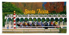 And They're Off At Santa Anita Beach Towel by Nadalyn Larsen