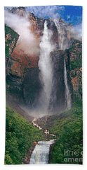 Beach Towel featuring the photograph Angel Falls In Venezuela by Dave Welling