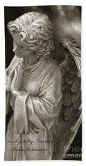Angel Praying - Inspirational Angel Art Dreamy Surreal Angel In Prayer  Beach Towel